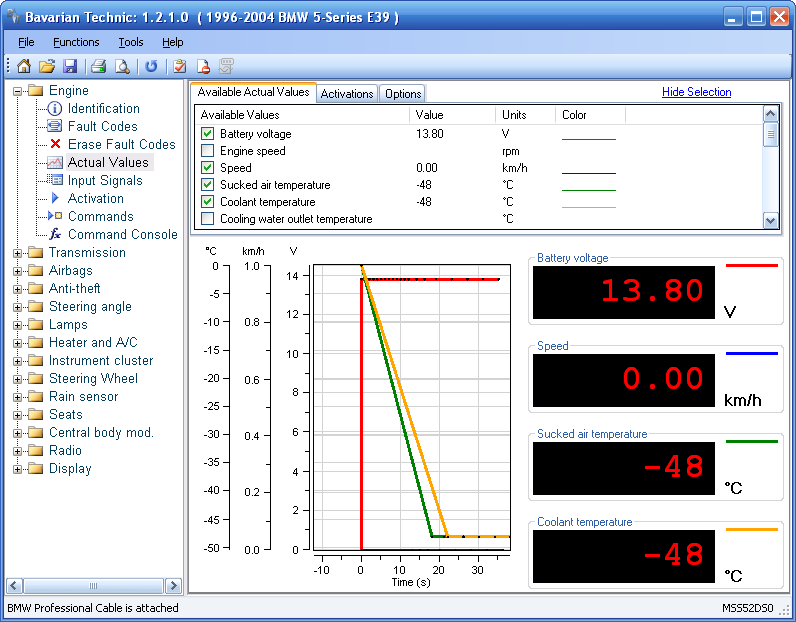 Bavarian Technic for BMW Actual Value / Diagnostic request screenshot